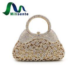 $enCountryForm.capitalKeyWord Canada - Wholesale- Milisente Luxury Flower Crystal Evening Bags Special Design Handbag Girl's Party Purse Wedding Clutch Shoulder With Chain Gold