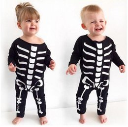 wholesale rompers bloomers Australia - Baby Girl Boy Cotton Blends Halloween Bone Rompers Kids Onesies Bodysuit Infant One Piece Long Sleeve Jumpsuits Fashion Children Bloomers Cl