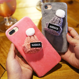 Knit phone case online shopping - Fashion Handmade Plush Hat Cover For iPhone Plus s Plus Cute Knitted Gift Phone Back Cases For iPhone s Case Christmas