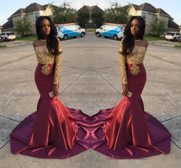 Discount charming burgundy lace prom dress Charming African Style Off Shoulder Prom Dresses 2017 Gold And Burgundy Evening Gowns For Black Girls Long Sleeve Sweep
