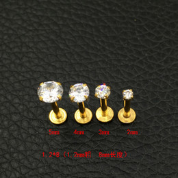 Lip Piercing Wholesale NZ - Crystal CZ gem Lip Stud Gold Labret Tragus Earrings 316L Stainless steel Zircon lip nail medical steel nails round 2mm 3mm 4mm