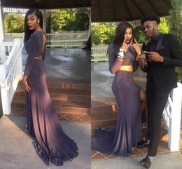 Open Dress Sexy Girls Images Canada - Long Sleeves Two Piece Prom Dresses Jewel Beaded Satin Open Back Dark Gray African Black Girls Party Dresses Sexy Plus Size Graduation Dress