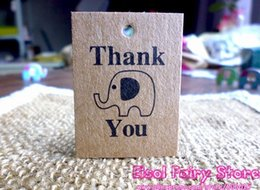 Discount gift card boxes for parties - 300pcs (String Included) Cute Elephant Mini Kraft Blank Thank You Paper Cards Hang tag Gift tag For Party Favor Bag Box