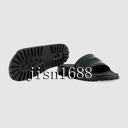 Chinese  2017 mens fashion striped slippers with Moulded rubber footbed male beach causal Slides sandals flip flops ship with dust bags box manufacturers