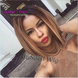 Discount wigs colours - Two colour 2017 Two Tones Ombre Wig Medium Long Straight Synthetic Hair Wig for Black Women Perruque Peruk African Ameri
