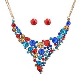 $enCountryForm.capitalKeyWord UK - New Fashion Jewelry Earrings Necklace Set Women Geometric Stones Pendant Necklace Red Blue Black Colors Transparent Champagne 10SETS