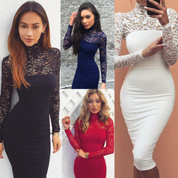 Barato Lace Midi Vestido Barato-Alto Neck Lace Long Sleeve Straight Mulheres Vestidos Casual Long Skirt Vestidos Midi Spring / Autumn Cheap Party Dresses 4 Colors On Sale