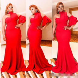 Wholesale african fashion designs dress resale online - 2019 New Design Red Formal Evening Dresses Saudi Arabia Halter Mermaid Prom Party Dresses One Short Sleeve Simple African Women Vestidos