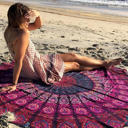 $enCountryForm.capitalKeyWord Australia - Super Round Mandala Summer Beach Towels Printed Tapestry Hippy Yoga Mat 150*150CM Boho Tablecloth Bohemian Beach Towel