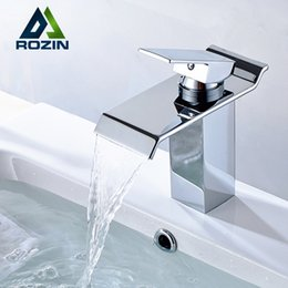 Wholesale Single Lever Waterfall Basin Sink Mixer Taps Deck Mounted Hot and Cold Bathroom Sink Faucet