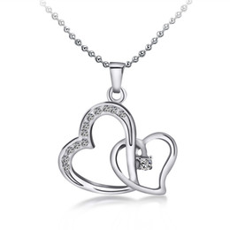 China Top Quality Austrian crystal Diamonty Double Love Heart Pendant Statement Necklace Fashion Class Women Girls Lady Swarovski Elements Jewelry suppliers