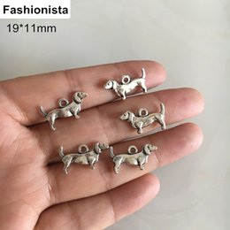 Dog Charms NZ - Wholesale 200 Pcs lot New Fashion Antique Silver-color Handmade Charms Pendant Dog 11*19mm DIY Crafts and Jewelry Findings