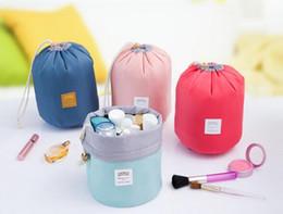 $enCountryForm.capitalKeyWord Canada - 2017 New Arrival Barrel Shaped Travel Cosmetic Bag Nylon High Capacity Drawstring Elegant Drum Wash Bags Makeup Organizer Storage Bag Case