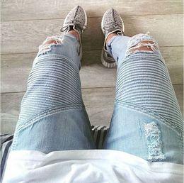 Discount represent clothing - Wholesale-represent clothing designer pants slp blue black destroyed mens slim denim straight biker skinny jeans men rip