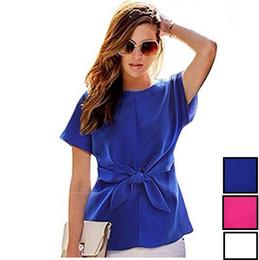 Cotton Kimonos Wholesale Canada - Plus Size Women Kimono Bowknot Blouses Casual Chiffon T Shirts Short Sleeve O Neck Short Colorful Joker Brand Tops DK1687LY