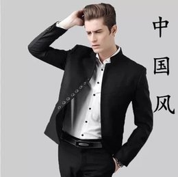 Tunique Mince Pas Cher-Vente en gros - 2016 Fashion Men Vintage Blazers Stand Collar Tunique chinoise Hommes Casual Slim Fit Blazer Coat A458