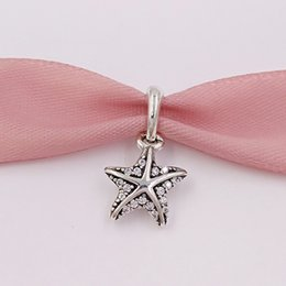 $enCountryForm.capitalKeyWord Australia - 925 Sterling Silver Beads Tropical Starfish, Clear Cz Charms Fits European Pandora Style Jewelry Necklace 390403CZ
