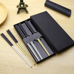 Discount chop sticks Wholesale- 5 Pairs High-grade 304 Stainless Steel Titanium Plating Black Head Square Chopsticks with Box Korean Chop Sti