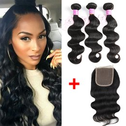 indian remy top closure 2019 - B2B Wholesale Peruvian Brazilian Virgin Human Hair Bundles 3pcs Body Wave with Cheap Remy Human Hair Weaves 1 piece 4x4