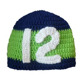 baby boy handmade beanies UK - Novelty Football Beanie Hat,Handmade Knit Crochet Baby Boy Girl Striped Football Team Hat,Number 12,Winter Hat,Infant Toddler Photo Prop
