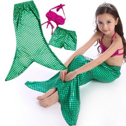 Bikinis Azules Para Niños Baratos-2016 Princesa Ariel Kid Little Mermaid Tails Disfraz Ariel Baby Girls Mermaid Tail Bikini traje de baño Niños Cosplay Azul