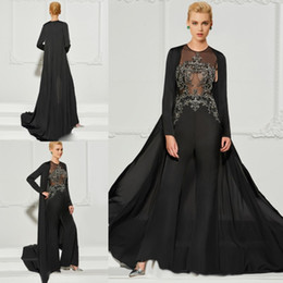 mother bride dresses beaded jacket Australia - Black Jumpsuit Evening Gown With Jacket Two Pieces Applique Beads Illusion Sexy Prom Dress Mother Of The Bride Dresses Formal Gowns Party