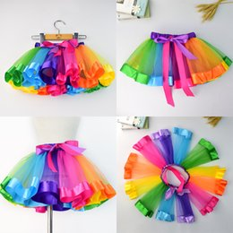 Taille Robe Arc-en-ciel Pas Cher-Brand New Girls Robes Baby Girl Tutu Robe Taille 0-8T Baby Rainbow Dancing Dress # 20161228-1 Drop Shipping