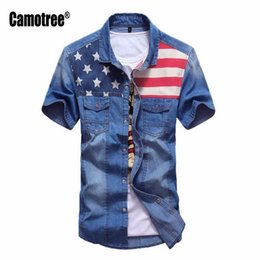 Chemise Habillement Homme Jeans Pas Cher-Grossiste- Men's Mode Chemises Blouse Denim Chemises Slim Fit Casual Vêtements Chemise Shirt Masculina Jeans Chemises M-3XL