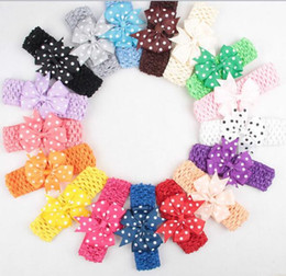 Polka dot bow hair bands online shopping - Elastic Band Headband Baby Polka Dots Bows WITH Clip Kids Hairpin Hair Accessories YH623