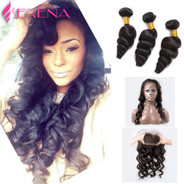 Human Brazilian Hair NZ - 360 Lace Frontal With Bundle Brazilian Loose Wave 360 Frontal With Bundles Top 360 Lace Frontal Closure With 3Bundles Human Hair