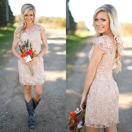 $enCountryForm.capitalKeyWord Canada - 2017 New Champagne Lace Short Country Bridesmaid Dresses Cheap V Neck Short Sleeve Mini Maid Of Honor Gowns Custom Made China EN2041