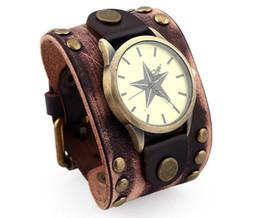 star belts 2019 - 100% Genuine leather Bracelet Watch rivet Five pointed star Wide Bracelet 52mm Men watch Belt buckle Retro Leather Brace