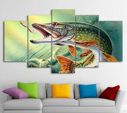 $enCountryForm.capitalKeyWord UK - 5 Piece Canvas Art Fishing Hooked Pike Fish Canvas Painting Wall Pictures For Living Room Home Decor Drop Ship Poster And