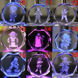 Pack Supplies Australia - Dragon Ball Evolution Cartoon Anime Action Figure Toys LED Crystal Keychain With Colorful Night Light Key Chain Ring with Gift Box Packing