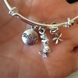 Discount alloy mermaids - 12pcs Mermaid starfish and believe charms bracelet silver tone bangles