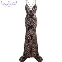 $enCountryForm.capitalKeyWord Canada - Angel-fashions Women Spaghetti Strap Sequin V Neck Mermaid Long Prom Gown Sweep Train Party dresses 224
