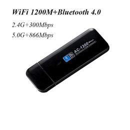Discount mini pc network cards - Wholesale- USB Mini wireless WiFi Network Card Bluetooth 4.0 1200Mbps 802.11ac wi-fi adapter 2.4G 5.0G for PC desktop