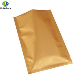 Recyclable fabRics online shopping - 10x15cm x6 quot Three side seal aluminum foil packing bag flat recyclable Double Sided Matte Gold Storage Open Top Bags