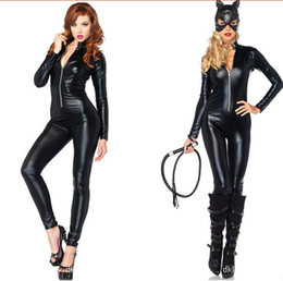 Masque De Chat Cosplay Pas Cher-Hot Selling Halloween Catwoman Costume Sexy Catsuit Femmes Party Unique Wear Wetlook Bodysuit Cat Cosplay Zipper Jumpsuit With Mask