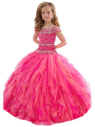 special gowns UK - Gorgeous Cap Sleeve Child Prom Special Occasion Ball Gowns Princess Girls Sequined Dress Kids Tulle Pageant Dresses