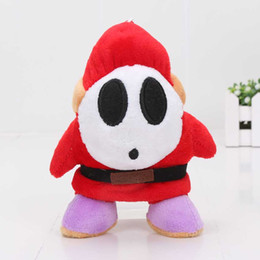 Super Soft Stuffed Animals Canada - 17cm Super Mario Bros Plush Toy Soft Stuffed Animal Shy Guy Doll pendant with hook keychain keyring