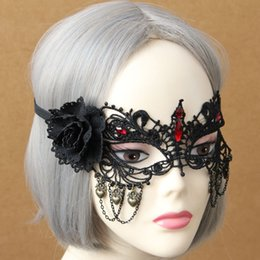 Velo Negro Flor Roja Baratos-Fashion Flower Red Crystal Chain Goth Vintage Elegante Negro Sexy Lace Flor Velo Mascarilla