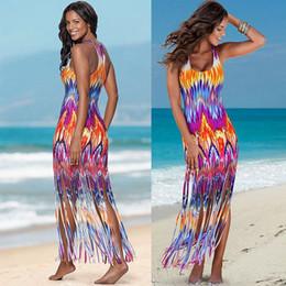 Women S Beach Clothes NZ - New beach dresses summer dress color printing tassel fashion long bodycon dress casual dresses for women clothes bohemian sexy club dresses