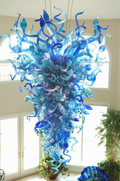 Chandelier iluminação turquesa e luzes azuis artesanais lustros de vidro lustros de vidro led luz 110V-240V para decoração de casa em Promoção