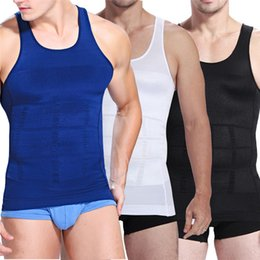 Barato Corpo Muscular Mens-Atacado Hot Men venda de Slimming emagrecimento Espartilho Vest Spandex Body Shaper para Masculino Mens muscular compressão Shapewear Slimming Body Vest