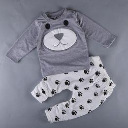 Kids Hot Pants Set Canada - Hot Spring Autumn Infant Baby Cartoon Set Animals Letters Long Sleeve Cotton Tops T-shirt + Pants Kids 2pcs Outfits Children Clothing Suit