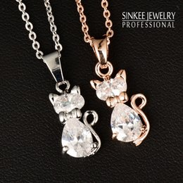 Cat Pendant 18k Plated Australia - Wholesale-Charm White Cubic Zircon Cat Animal Pendant Necklace For Women 18K Rose Gold Plated Chain High Quality Xl534