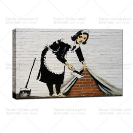 Discount living clean - Banksy Stree Art-Cleaning Lady GICLEE Art Photos Prints picture wall decor art canvas art paintings living room wall pic