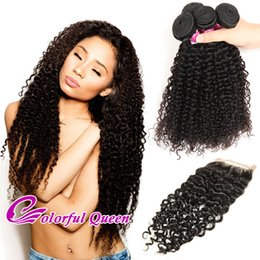 Colorful Human Hair Australia - Colorful Queen Kinky Curly Human Hair 4 Bundles with Closure 5 Pcs Lot Cheap Malaysian Curly Virgin Hair Weaves with Lace Closures 4x4