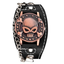 $enCountryForm.capitalKeyWord UK - Luxury Copper Skull Punk Watch PU Leather Sports Quartz Wrist Watch With Chain And Cover Cool Bracelet Watches